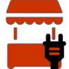 Marktkraam met stroomaansluiting