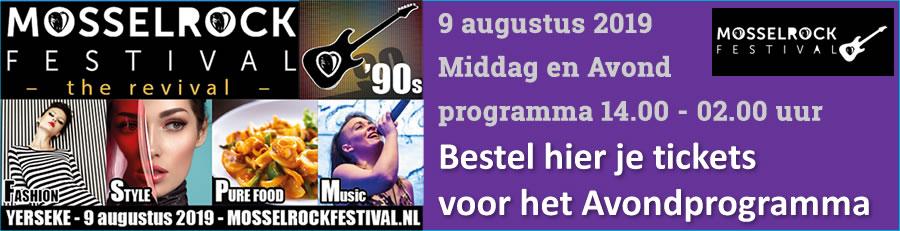 Bestel hier je ticket voor het Mosselrockfestival Avondprogramma